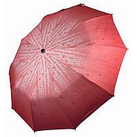 """Складной женский зонт-полуавтомат """"Капли дождя"""" от МАХ, красный, 047-1, фото 1"""
