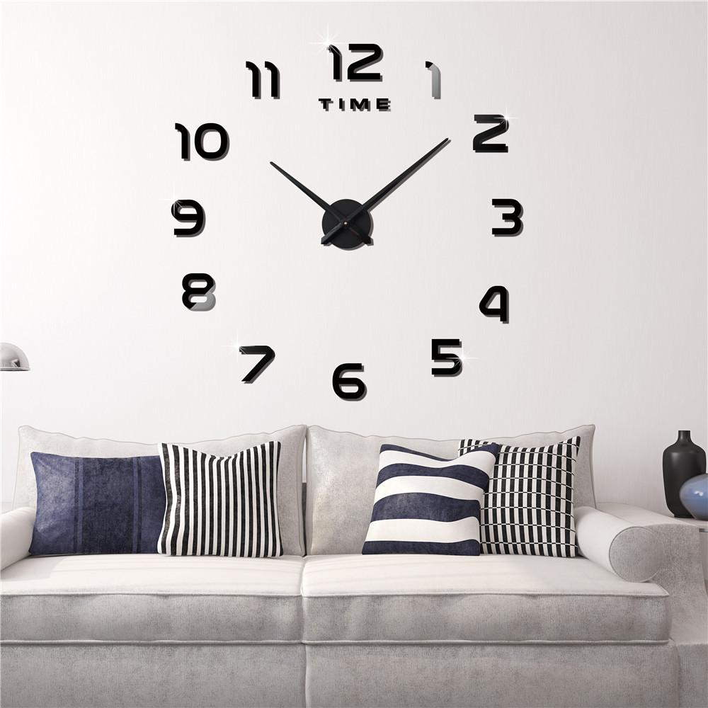 Часы настенные 3D диаметром 50-120 см из акрила Арабские цифры черные 002Bl