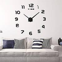 Часы настенные 3D диаметром 50-120 см из акрила Арабские цифры черные 002Bl, фото 1