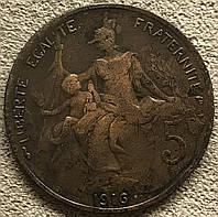 Монета Франции 5 сантимов 1916 г., фото 1