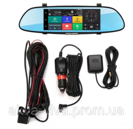 """Зеркало-Видеорегистратор 3G «HYT» Экран 7"""" + парковка + GPS Навигатор + Минипланшет + Много Фишек (Р-126)"""