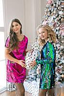 Платье зеленое с длинными рукавами пайетка на девочку подростка рост 140-176