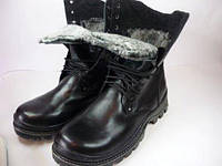 Армійські шкіряні зимові берци на натуральному хутрі