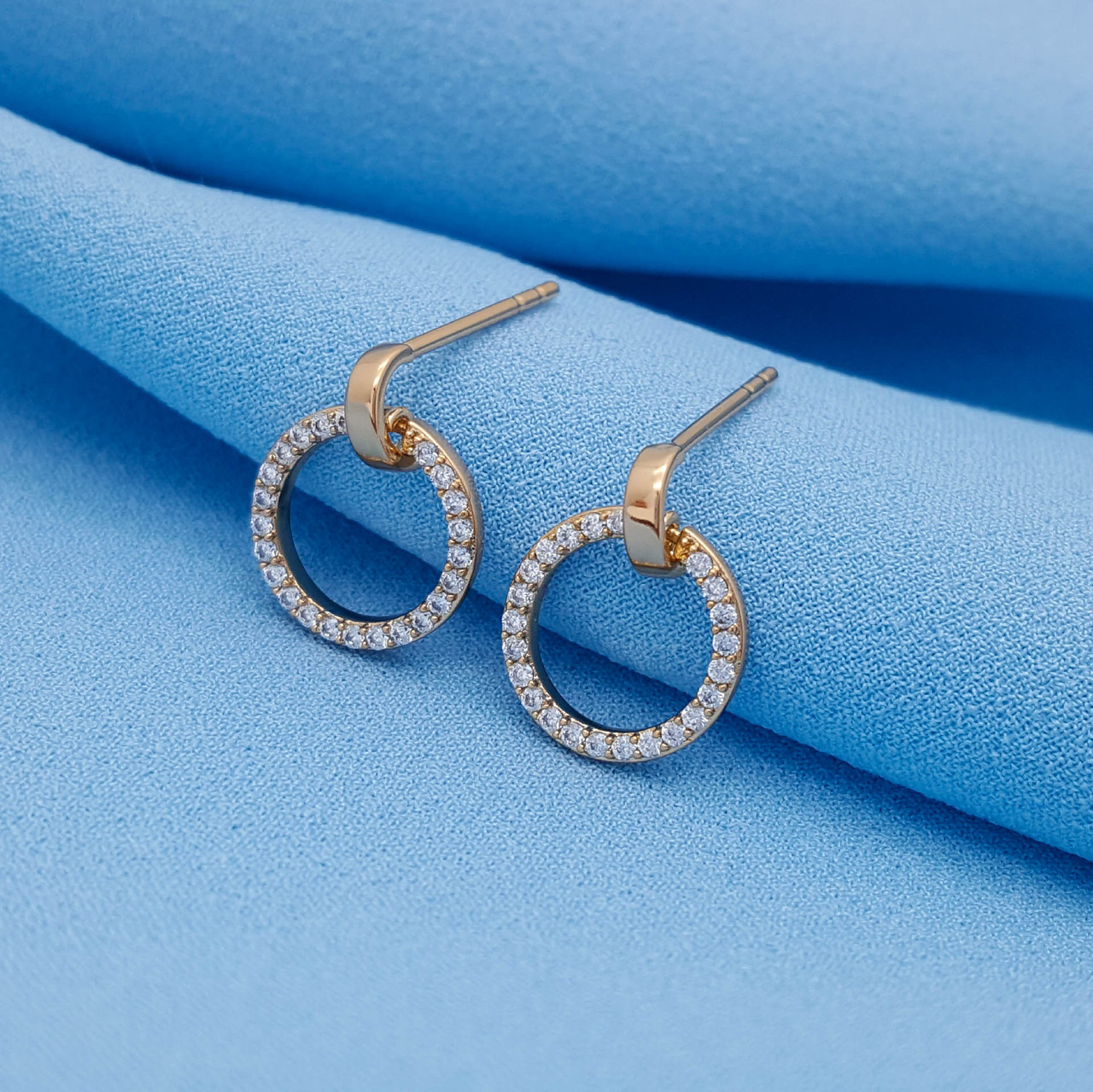 Сережки гвоздики, Кружок зі вставкою цирконія, позолота Xuping