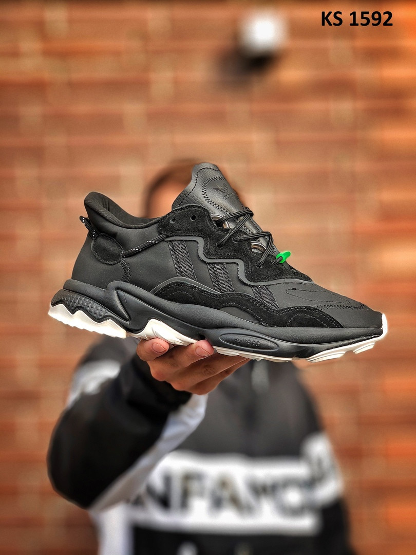 Мужские кроссовки Adidas Ozweego TR (черно/белые) KS 1592