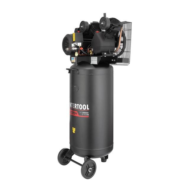 Компрессор INTERTOOL PT-0017 100 л, вертикальный, 3 кВт, 220 В, 10 атм, 500 л/мин, 2 цилиндра