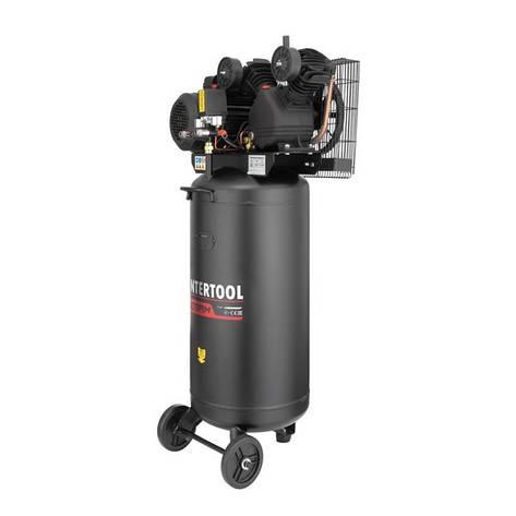 Компрессор INTERTOOL PT-0017 100 л, вертикальный, 3 кВт, 220 В, 10 атм, 500 л/мин, 2 цилиндра, фото 2