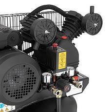 Компрессор INTERTOOL PT-0017 100 л, вертикальный, 3 кВт, 220 В, 10 атм, 500 л/мин, 2 цилиндра, фото 3