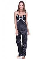 Пижама женская с штанами черного цвета с гипюром