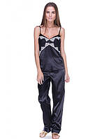 Пижама женская с штанами черного цвета с гипюром, фото 1