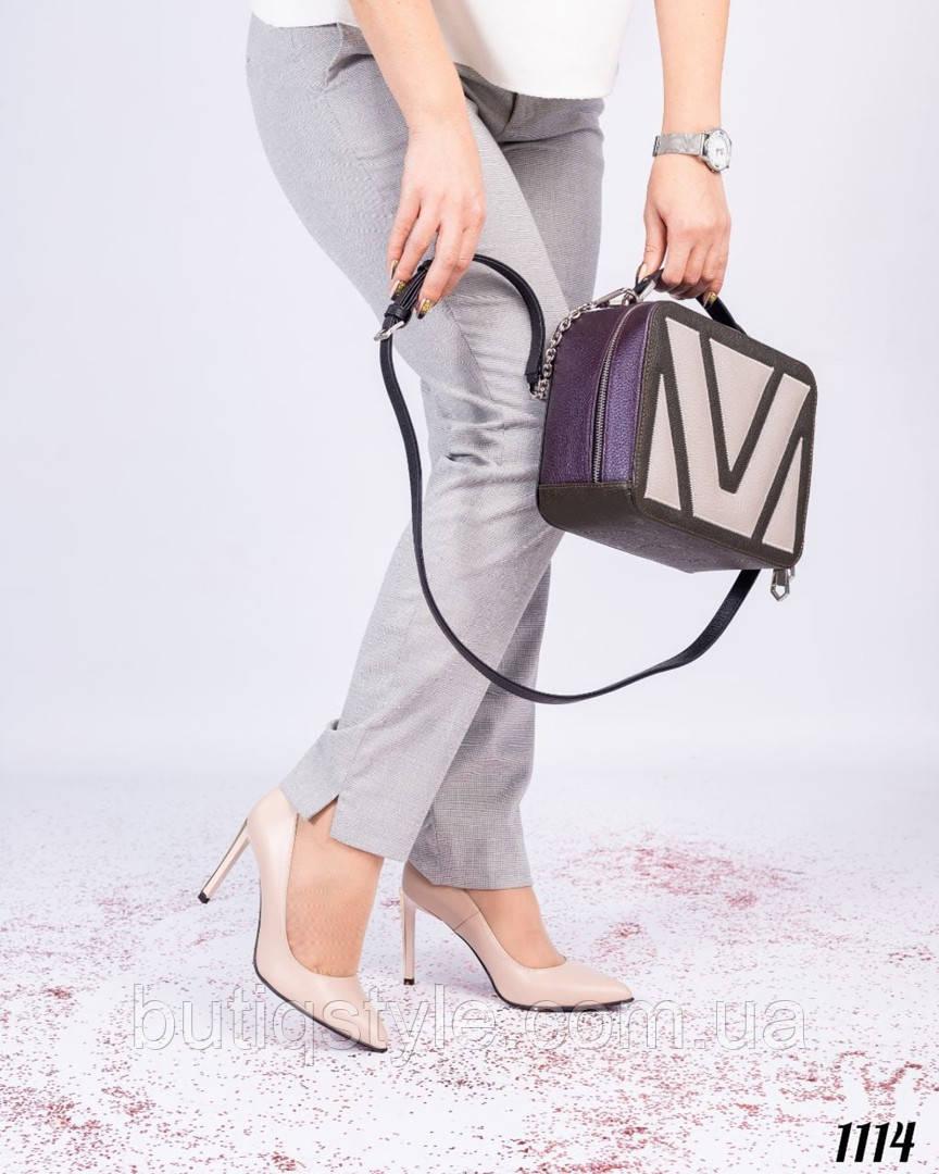 Женская сумочка фиолет+хаки+перламутр натуральная кожа
