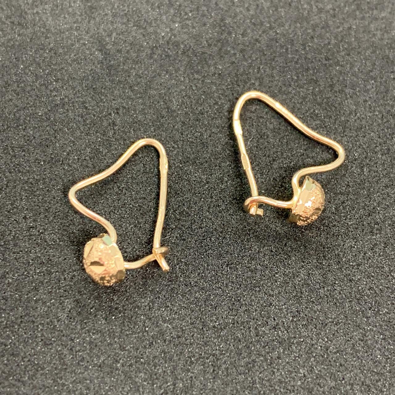 Золотые серьги Б/У 585 пробы, вес 0,93