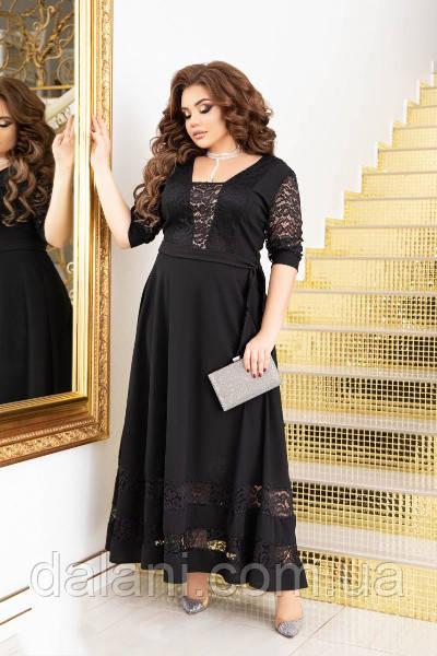 Вечернее черное платье с гипюром длинное батал