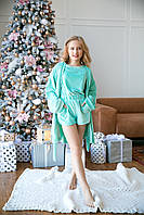 Домашний пижамный мятный комплект: халат, шорты, брюки, футболка девочке рост 140-176