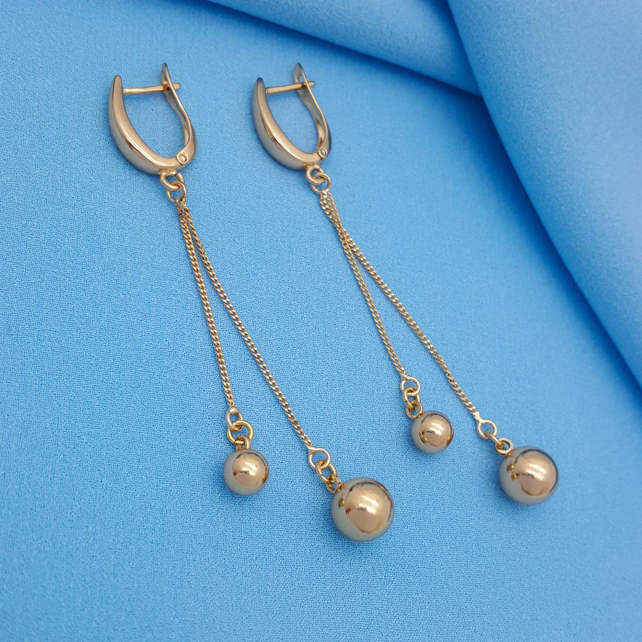 Сережки, Глянцеві Кульки на ланцюжку, без каменів, англ.замок, позолота  Xuping