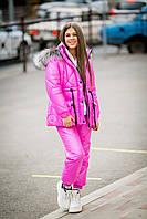 Костюм зимний лыжный непромокаемый: куртка и брюки малиновый на девочку-подростка рост 140-176