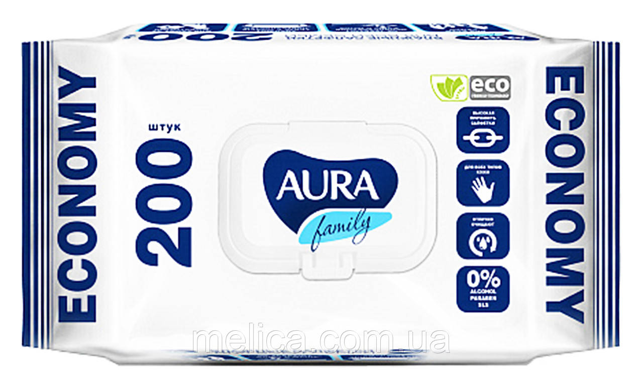 Вологі серветки Aura Family Для всієї сім'ї - 200 шт.