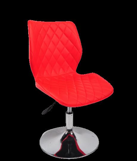 Яркий красный стул на блине из эко кожи поворотный для салонов красоты Toni CH - Base