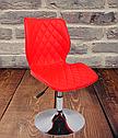 Яскравий червоний стілець на млинці з еко шкіри поворотний для салонів краси Toni CH - Base, фото 3