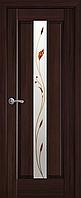 """Міжкімнатні двері """"Прем'єра"""" G 600, колір каштан з малюнком Р1 , ліві"""