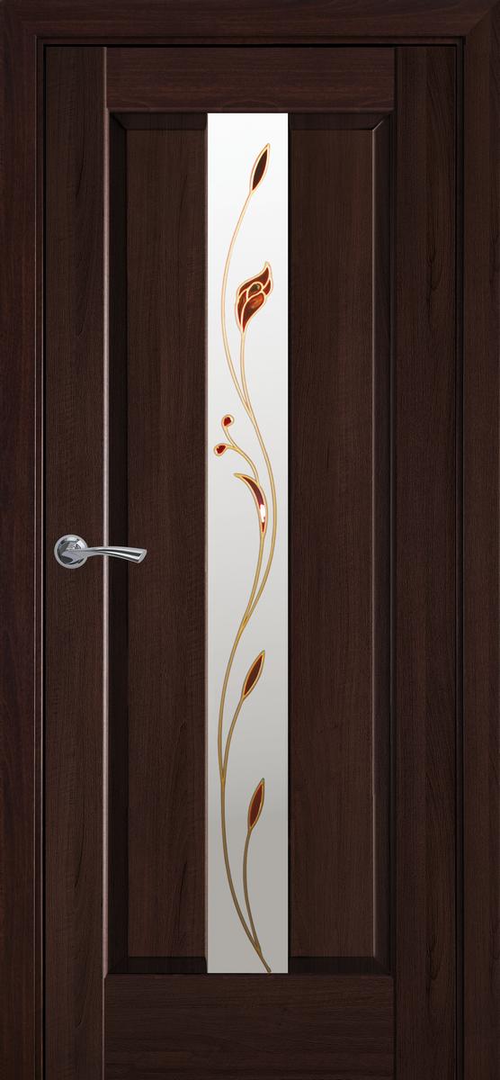 """Міжкімнатні двері """"Прем'єр єра"""" G 900, колір каштан з малюнком Р1 , ліві"""