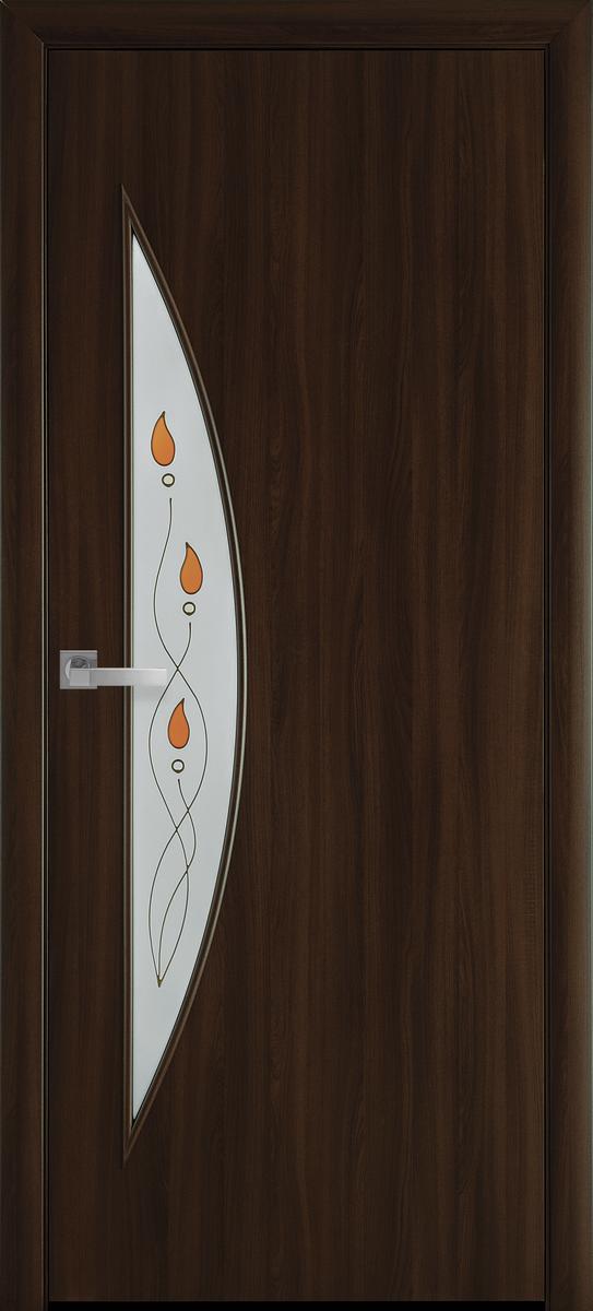 """Міжкімнатні двері """"Луна"""" G 900, колір горіх 3D з малюнком Р1 , ліві"""