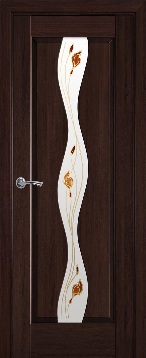 """Міжкімнатні двері """"Волна"""" G 700, колір каштан з малюнком Р1 , ліві"""