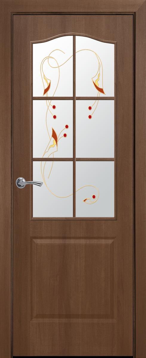 """Міжкімнатні двері """"Класік"""" G 600, колір золота вільха з малюнком Р1 , ліві"""