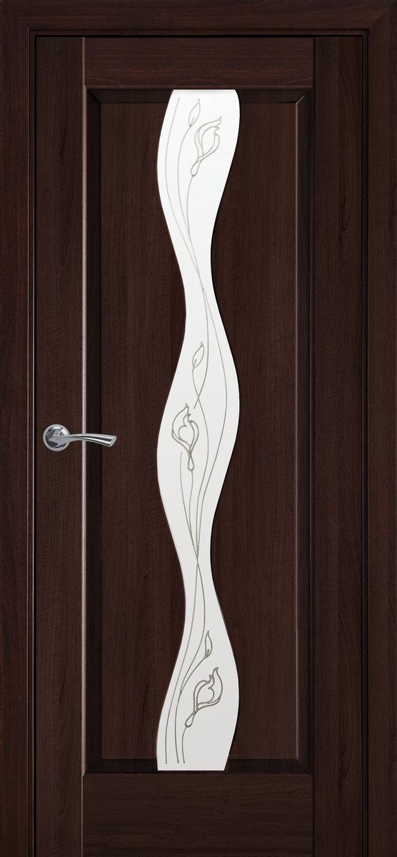 """Міжкімнатні двері """"Волна"""" G 800, колір каштан з малюнком Р2"""
