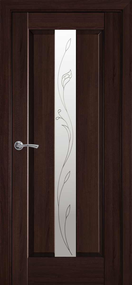 """Міжкімнатні двері """"Прем'єра"""" G 900, колір каштан з малюнком Р2 , ліві"""