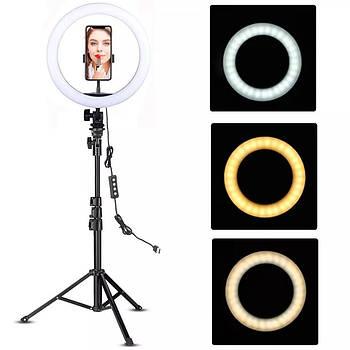 Круглая led лампа 26 см со штативом 200 см и держателем для телефона