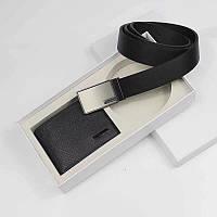Ремень черный + кошелек в подарочном наборе мужской стильный Кельвин Кляйн, фото 1