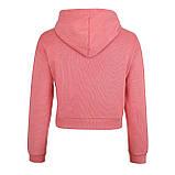 Худи однотонные короткие для девушек хб с капюшоном розовые, фото 2