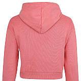 Худи однотонные короткие для девушек хб с капюшоном розовые, фото 4