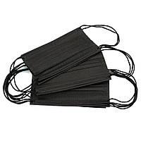 Маски медицинские детские 50 шт одноразовые трехслойные в упаковке, черные
