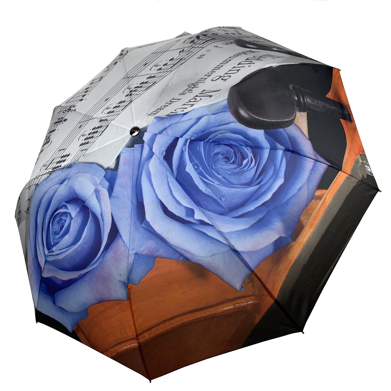 Женский зонт-полуавтомат от Max, с принтом нот и цветков розы голубого цвета, 127-1