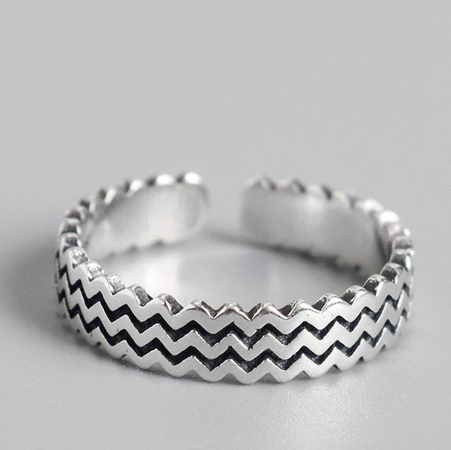 Серебряное Кольцо Женское City-A Кольцо из Серебра 925 Волны Регулируемое Безразмерное №3001