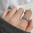 Серебряное Кольцо Женское City-A Кольцо из Серебра 925 Волны Регулируемое Безразмерное №3001, фото 3