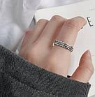 Серебряное Кольцо Женское City-A Кольцо из Серебра 925 Волны Регулируемое Безразмерное №3001, фото 5