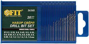 "Набор сверл по металлу FIT IT 36360, 20 шт. (0.3-1.6 мм), HSS полированные ""микро"""