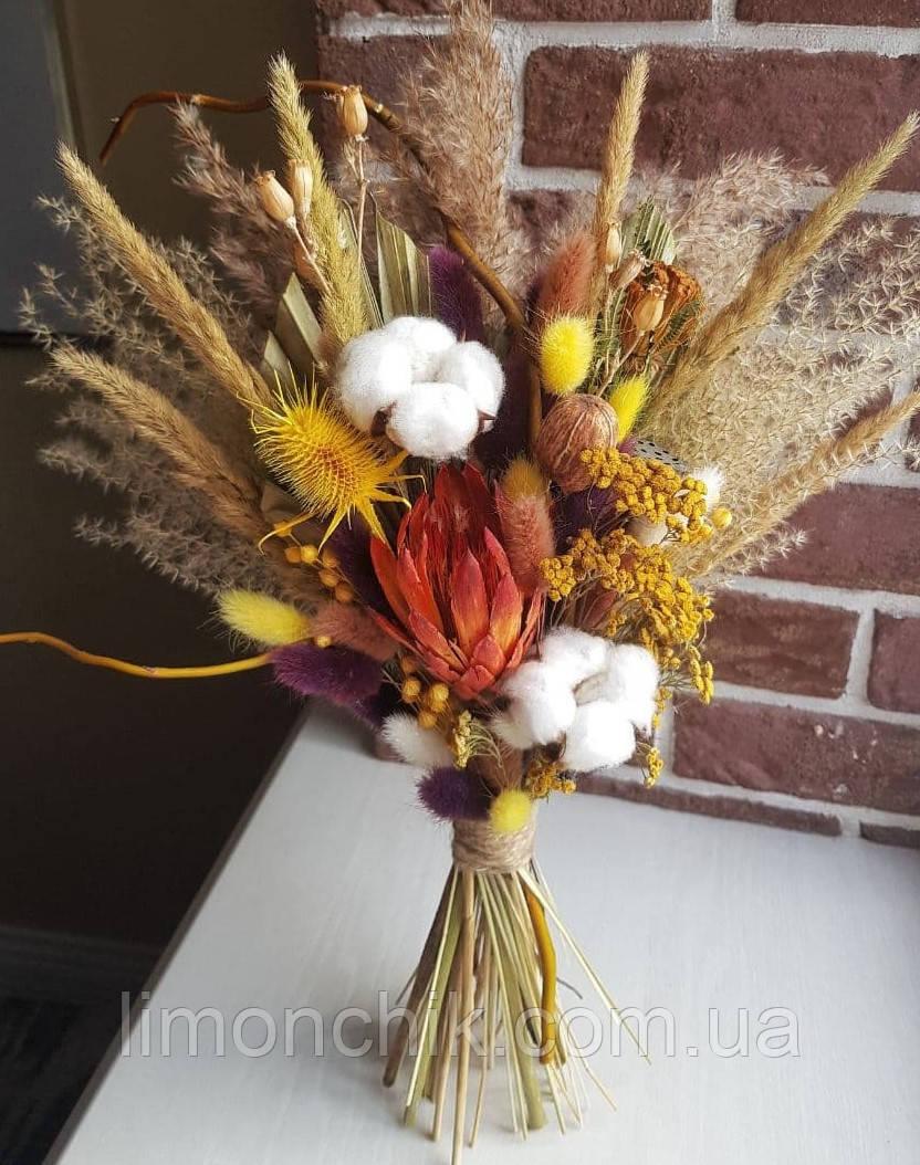 Букет из сухоцветов и стабилизированных цветов,