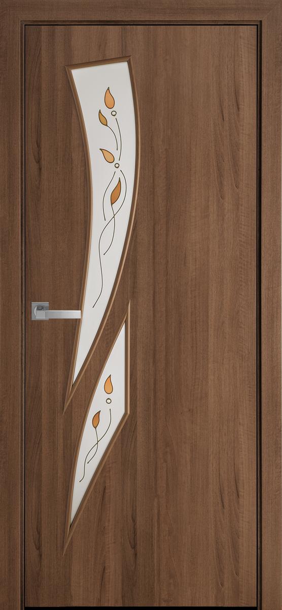 """Міжкімнатні двері """"Камея"""" G 800, колір вільха золота з малюнком Р1 , ліві"""
