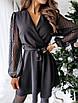 Женское платье с прозрачными рукавами в горох Черный, фото 3