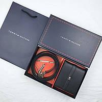 Ремень черный + кошелек в подарочном наборе мужской стильный Томми Хилфигер