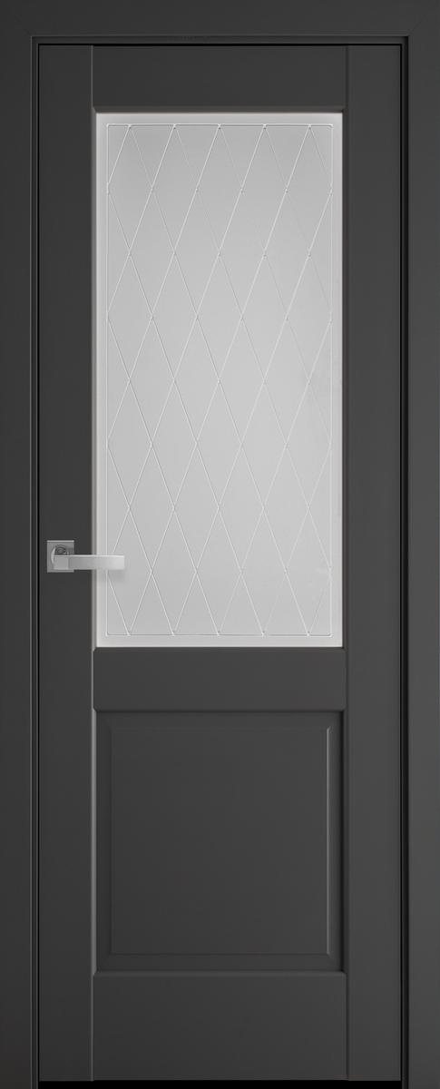 "Міжкімнатні двері ""Епіка"" G 700, колір антрацит з малюнком Р2"