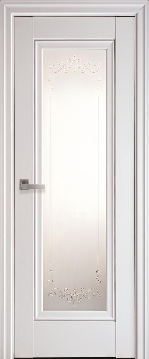 """Міжкімнатні двері """"Престиж"""" G + ML2 600, колір білий матовий з малюнком Р2"""