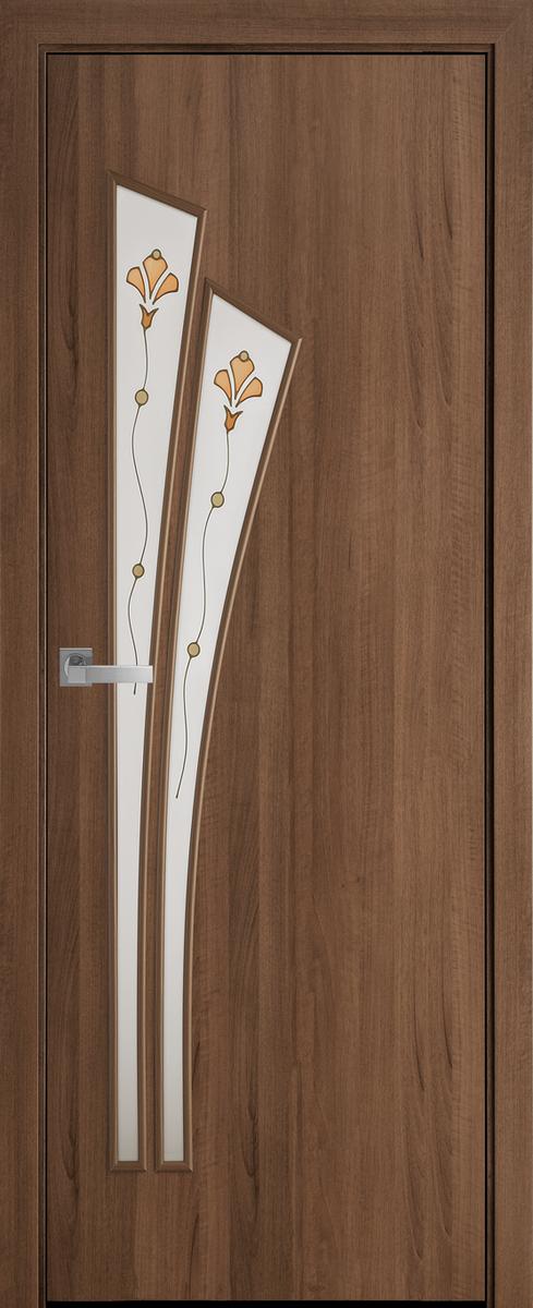 """Міжкімнатні двері """"Лілія"""" G 700, колір золота вільха з малюнком Р1 , ліві"""