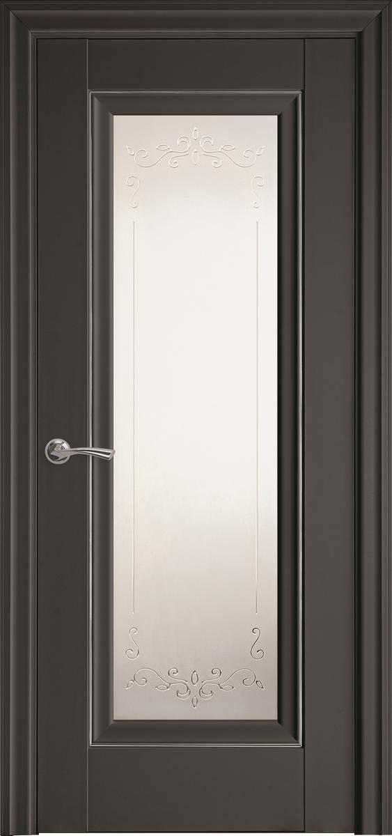 """Міжкімнатні двері """"Престиж"""" G + ML2 900, колір антрацит з малюнком Р2"""