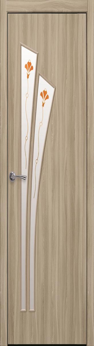 """Міжкімнатні двері """"Лілія"""" G 400, колір сандал з малюнком Р1 , ліві"""