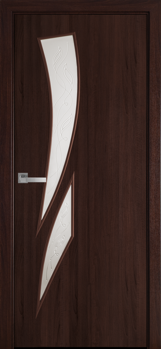 "Міжкімнатні двері ""Камея"" G 800, колір каштан з малюнком Р3 , ліві"